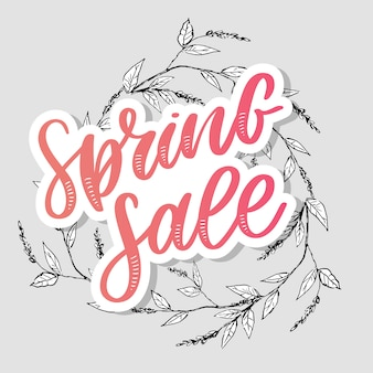 Spring sale with floral wreath