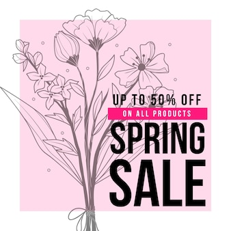 Spring sale with flowers