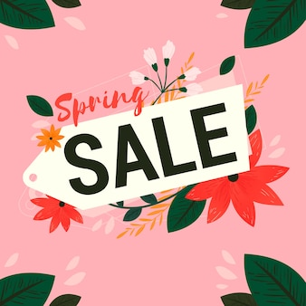 Spring sale with leaves and flowers