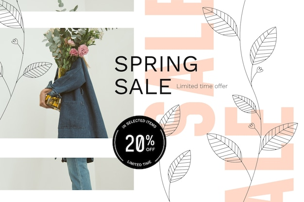 Spring sale with man holding flower bouquet