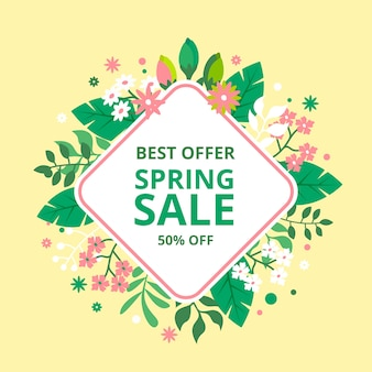 Spring sale with  multicolored flowers and leaves