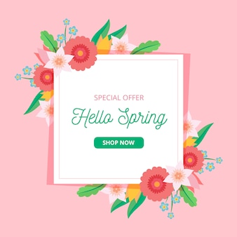 Spring sale with multicolored flowers
