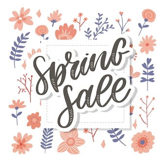 Spring sale word hanging on leaves with strings.  illustration flowers