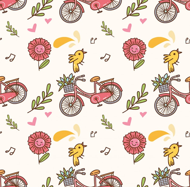 Spring seamless background with bicycle, flower and singing bird