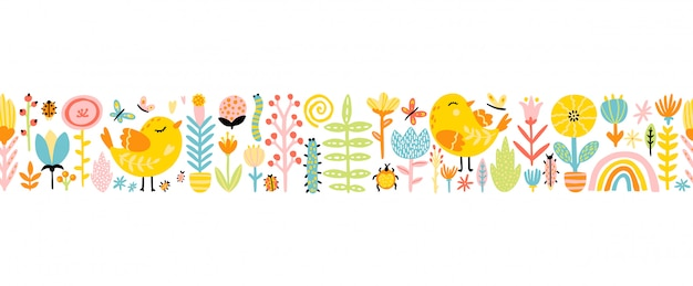 Spring seamless border patern with cute cartoon birds with chickens, flowers, rainbow, insects in a colorful palette. childish illustration in hand-drawn scandinavian style