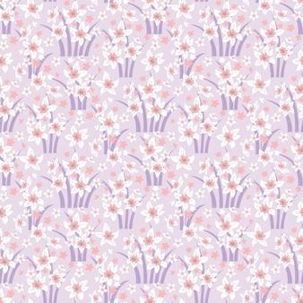 수선화와 봄 원활한 꽃 패턴