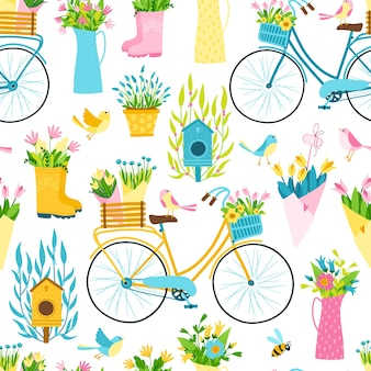シンプルな手描きの漫画スタイルの春のシームレスなパターン。自転車、植木鉢、花束、花瓶の間に小鳥がいる巣箱の幼稚なカラフルなイラスト。ガーデニングのテーマ。