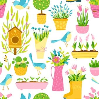 シンプルな手描きの漫画風の春のシームレスなパターン。植木鉢と花瓶の間の幼稚な小鳥。ガーデニングのテーマ。