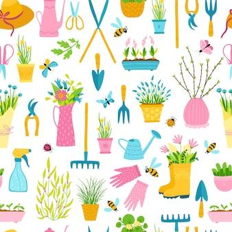 간단한 손으로 그린 만화 스타일에서 봄 완벽 한 패턴입니다.