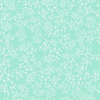 Spring seamless pattern on mint background