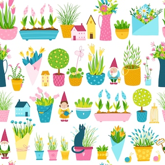 Spring seamless pattern in simple hand-drawn cartoon style. childish colorful garden gnomes, houses, flower pots and vases with bouquets of flowers.