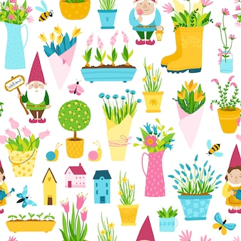 Spring seamless pattern in simple hand-drawn cartoon style.