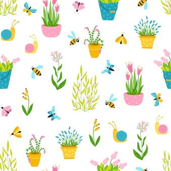 Spring seamless pattern in simple hand-drawn cartoon style. Premium Vector