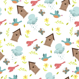 Spring seamless pattern with birds and birdhouses on a white background.