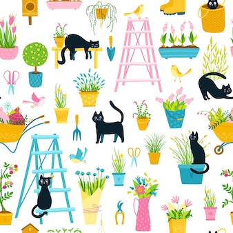 Spring seamless pattern with black cats in a simple hand-drawn cartoon style.