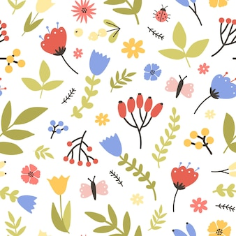 Spring seamless pattern with blooming plants on white. floral backdrop with meadow flowers, berries, butterflies and bugs. flat seasonal illustration for wallpaper, fabric print.