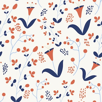 Spring seamless pattern with colorful flowers