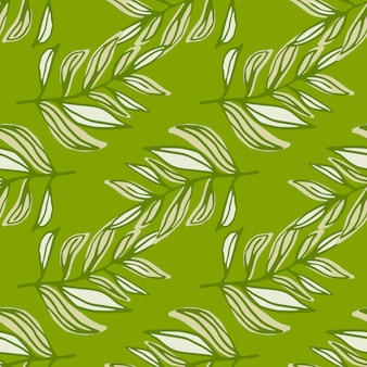 緑のトーンで輪郭を描かれた葉ブランチと春のシームレスなパターン。様式化された花柄プリント。