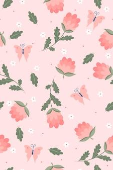 花と蝶と春のシームレスなパターン