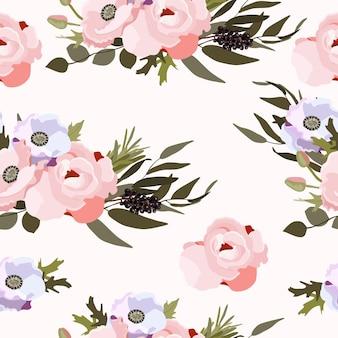 花と葉と春のシームレスなパターン