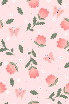 Spring seamless pattern with flowers and butterflies