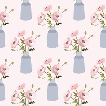 花瓶の花と春のシームレスなパターン