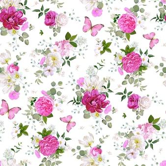 꽃, 다육 식물, 나비와 함께 봄 원활한 패턴