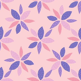 Spring seamless pattern with geometric flowers in blue and pink colors. light pink background. scandinavian style.