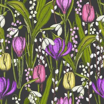 谷の手描きの花ユリと春のシームレスなパターン