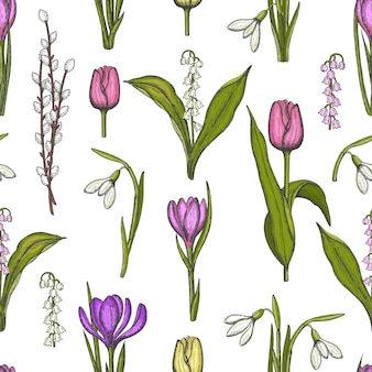 Spring seamless pattern with hand drawn flowers lilies of the valley