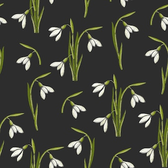 Spring seamless pattern with hand drawn snowdrops