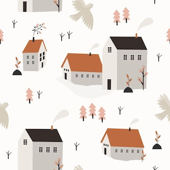 Spring seamless pattern with houses and tree.