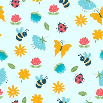 Spring seamless pattern with insects and flowers.
