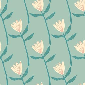明るいピンクの花の形をした春のシームレスなパターン。柔らかいターコイズブルーの背景。手描きの植物飾り。壁紙、ラッピング、テキスタイルプリント、ファブリックの装飾プリント。図。