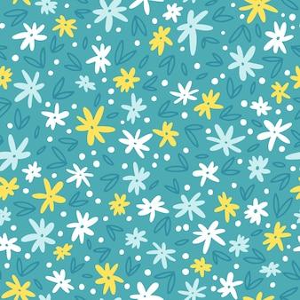 小さな素朴な花と春のシームレスなパターン。