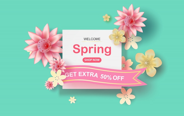 Spring season concept with flowers blossom of pastel sweet tone