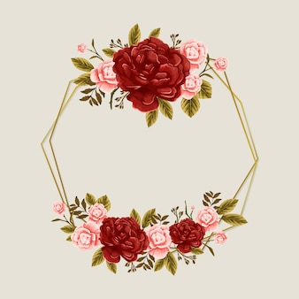 Spring season frame with pink roses and red flowers
