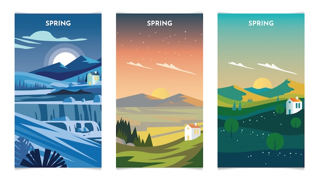 Spring season landscape at day and nigh illustration