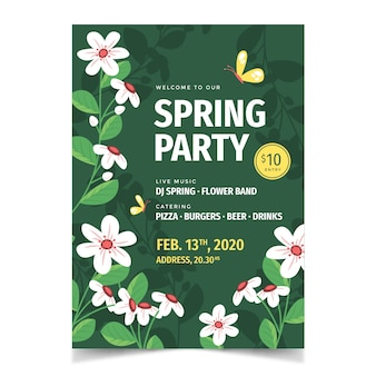 Spring season party flyer with flowers and leaves