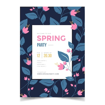 Spring season party poster with flowers and leaves