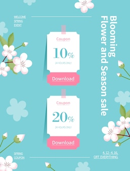봄 시즌 판매. 꽃 그림의 쿠폰 웹 페이지입니다. 꽃 프레임 벡터 일러스트 레이 션.