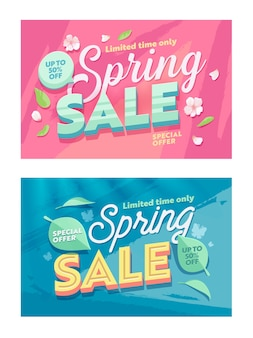 Spring season sale natural horizontal banner template set