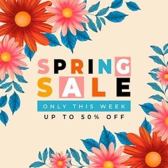 Распродажа весеннего сезона с цветами герберы