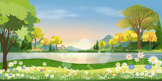 Spring season in village with lake, mountain, green meadow, orange and blue sky in evening,  countryside landscape.