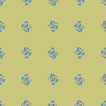 블루 벨 꽃 모양 인쇄와 봄 계절 원활한 패턴입니다. 옅은 파스텔 녹색 배경입니다. 포장지 및 패브릭 질감을 위한 그래픽 디자인. 벡터 일러스트 레이 션.