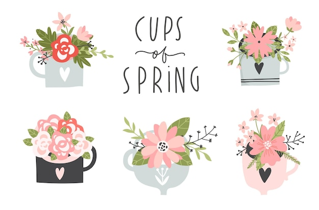 Spring set hand drawn elements lettering flowers wreaths on cups