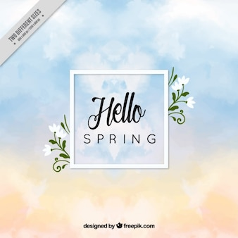 Spring sky background with watercolor clouds