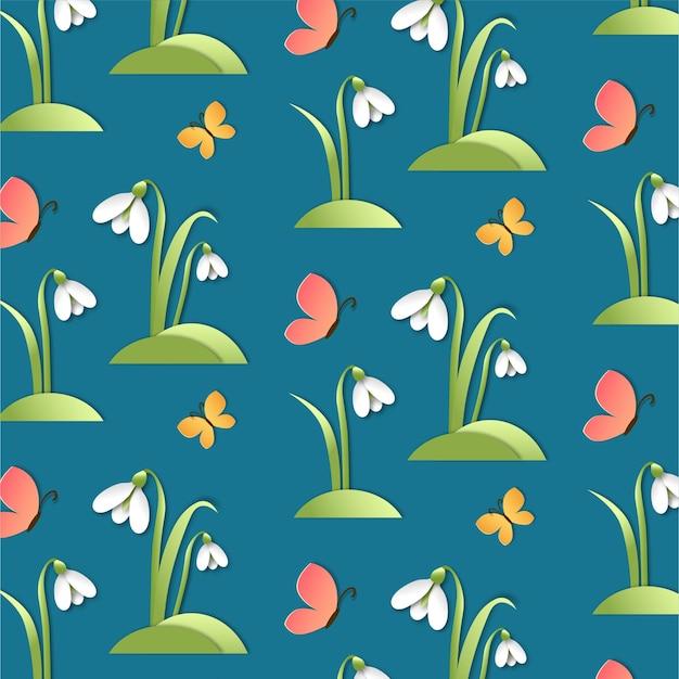 春のスノードロップのシームレスなパターン