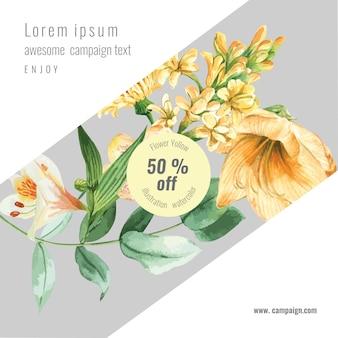 Spring social media frame fresh flowers, decor card with floral colorful garden, wedding, invitation
