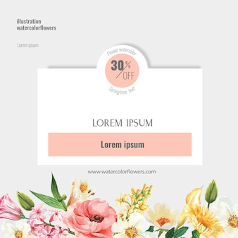 Spring social media frame fresh flowers, decor card with floral colorful garden, wedding, invitation